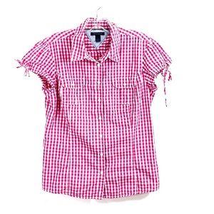 Tommy Hilfiger women size Medium red plaid shirt